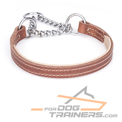 Tan Nappa Padded Leather Choke Collar