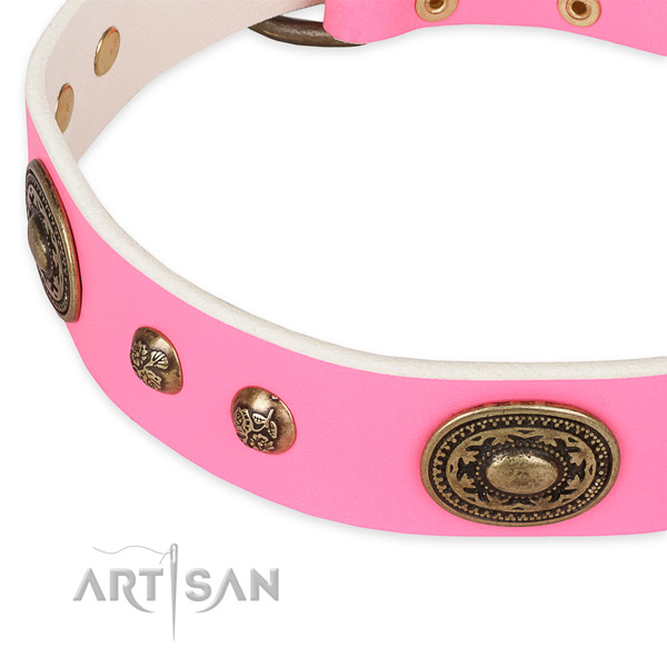 Pink Leather Dog Collar for Fashionable Canines