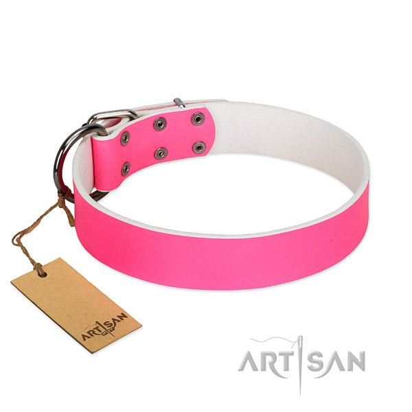 Pink Leather Dog Collar for Fashionable Walking