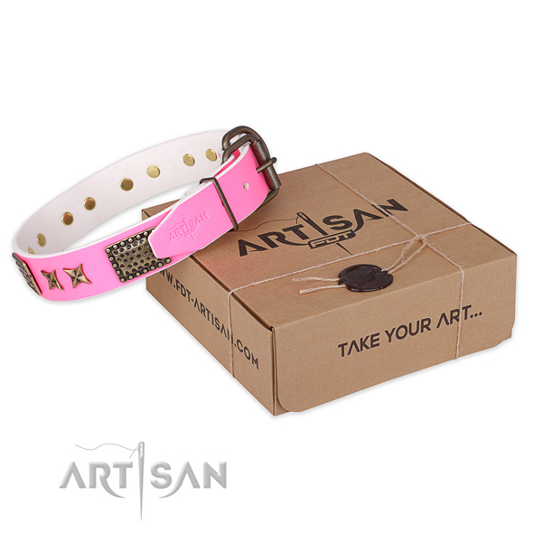 Pink Leather Dog Collar Decorated with Plates and Stars