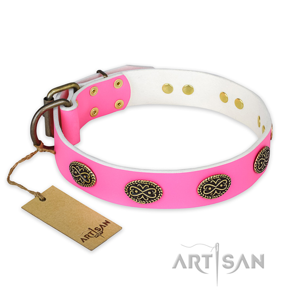 Pink Leather Dog Collar with Vintage-style Decorations