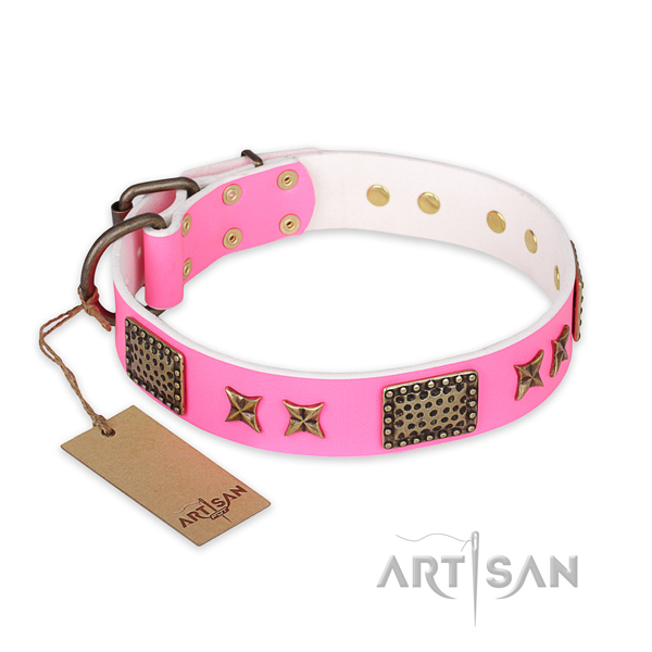 Pink Leather Dog Collar with Fancy Decorations