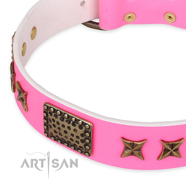 Pink Leather Dog Collar with Fancy Decorations for Female Canines