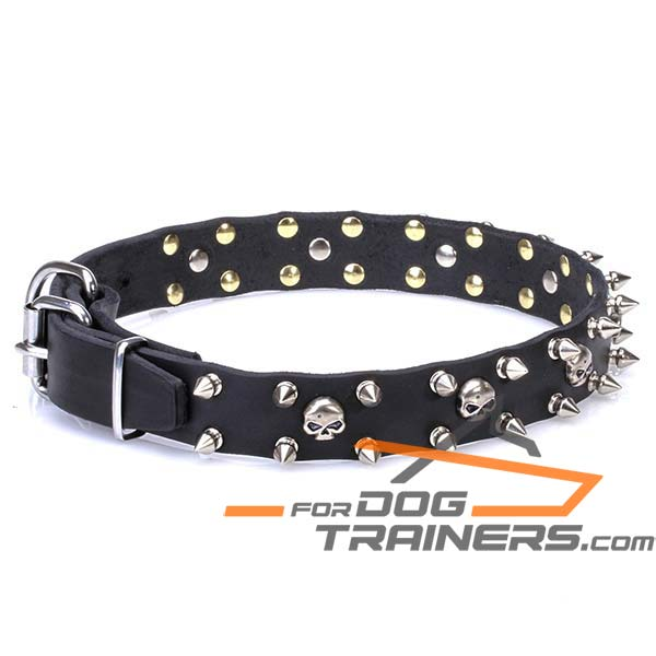 Extra Strong Leather Dog Collar with Chrome Plated Decor