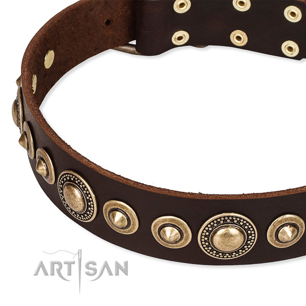 Leather Dog Collar Decorated with Squares