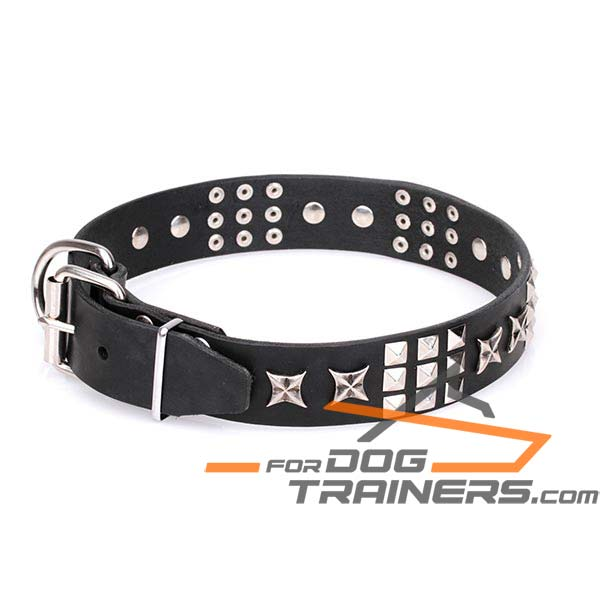 Leather Dog Collar with Chrome Plated Studs