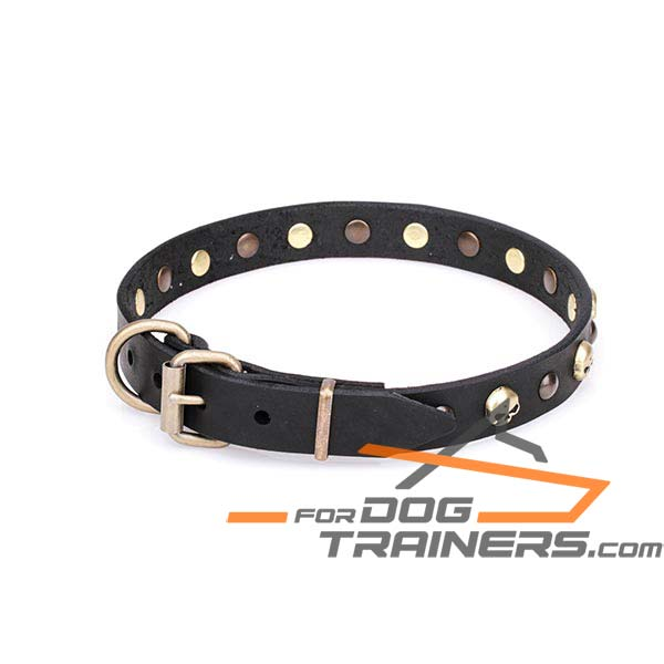 Amazing Design Leather Dog Collar with Durable D-Ring