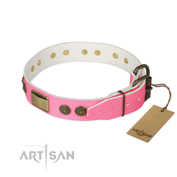 Bronze Look Decorations on Pink Leather Dog Collar