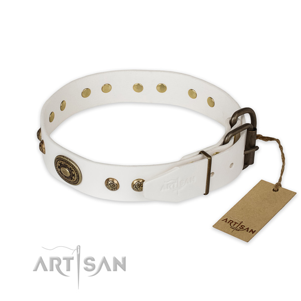 Leather Dog Collar with Rust Resistant Buckle and D-ring