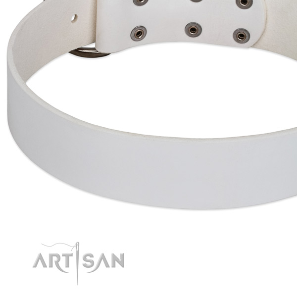 White Leather Dog Collar for Safe Walking
