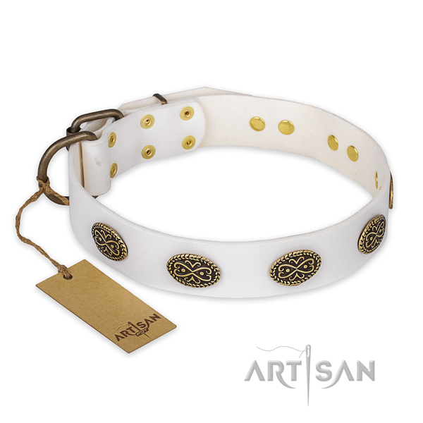 Designer White Leather Decorated Dog Collar for Walking in Style