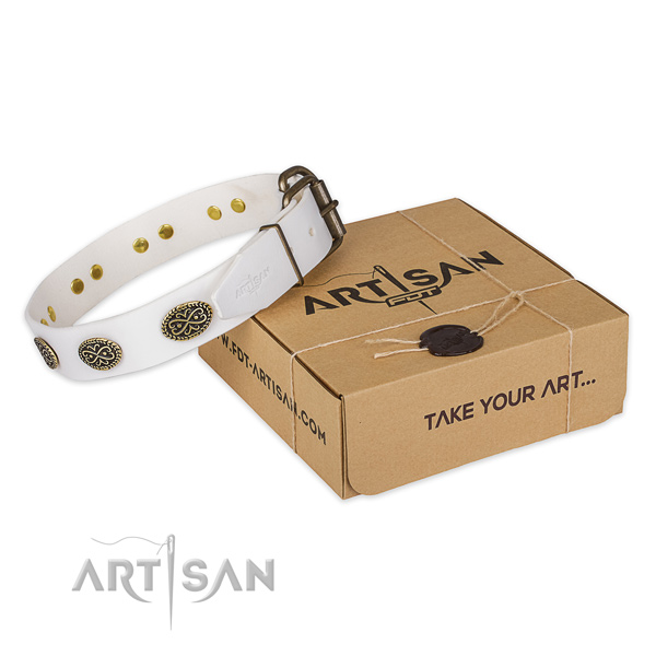 White Leather Dog Collar Decorated with Old Look Ovals