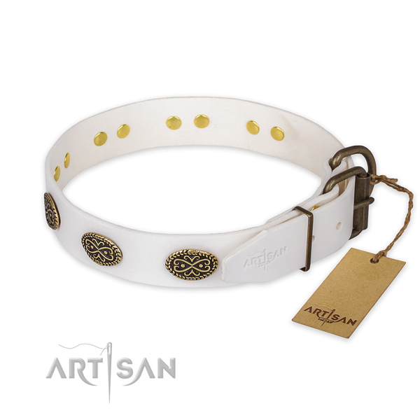White Leather Dog Collar with Ornamented Ovals