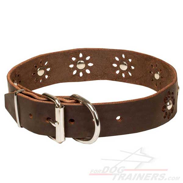 Leather Dog Collar with Rust-proof Buckle and D-ring