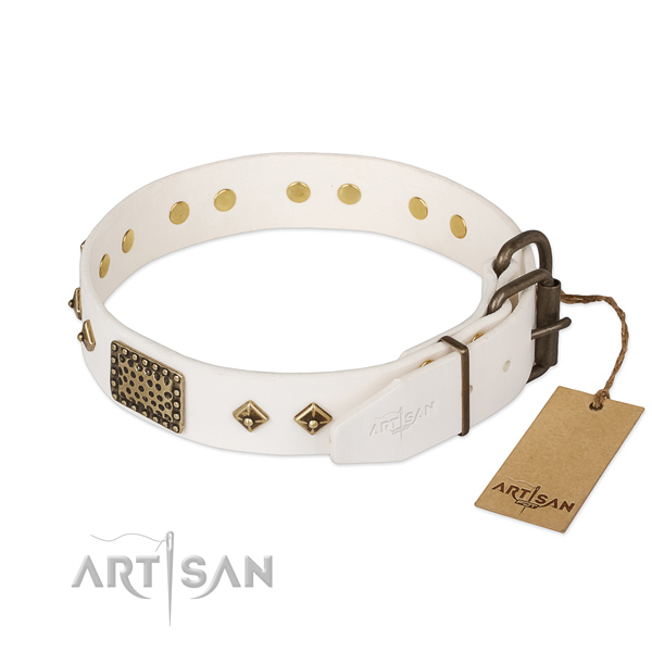 White Leather Dog Collar with Golden Look Fittings