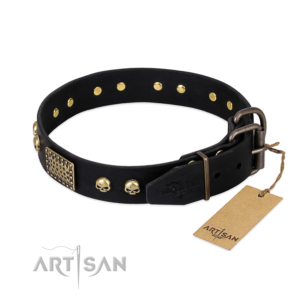 Black Leather Dog Collar with Old Bronze Look Fittings