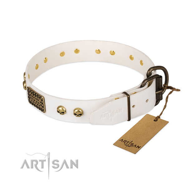 White Leather Dog Collar with Old Bronze Look Fittings