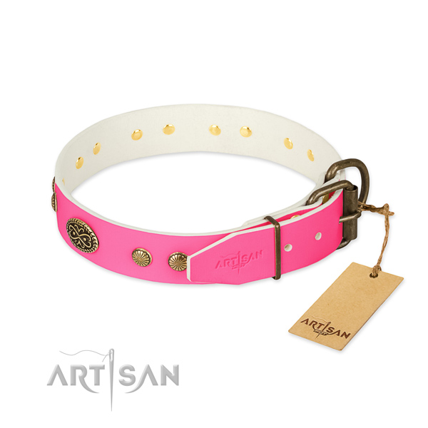 Pink Leather Dog Collar with Old Bronze Look Fittings