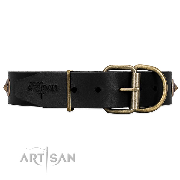 Black Leather Dog Collar with Strong Buckle and D-ring