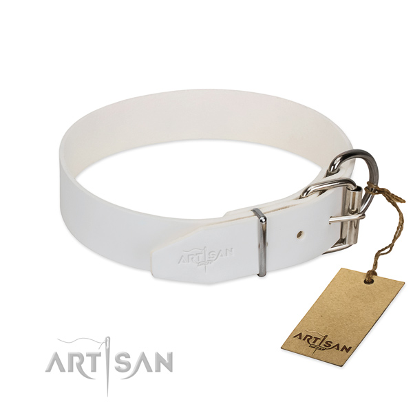 White Leather Dog Collar with Silver Look Fittings