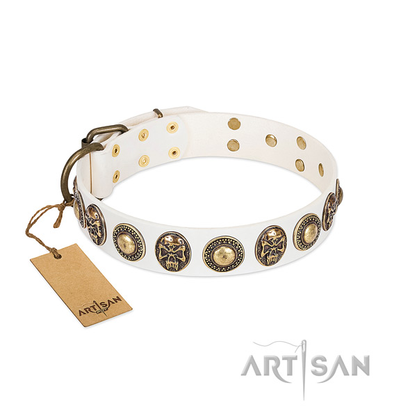 Original Design White Leather Dog Collar with Goldish Medallions