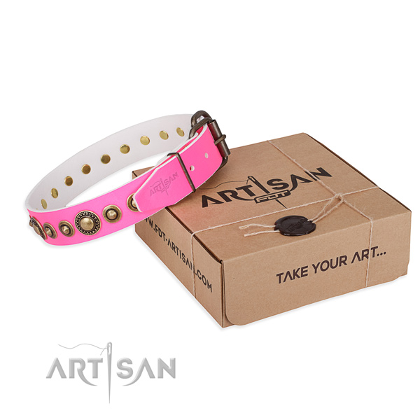 Wide Pink Leather Dog Collar