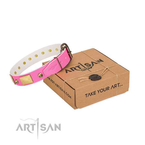 Adorned with bronze-like Skulls and Plates Pink Leather Dog Collar