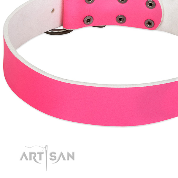 Fashionable Pink Leather Dog Collar for Walking