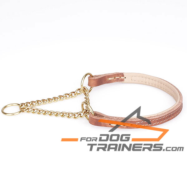 Martingale Tan Dog Collar with Brass Rust Resistant Chain
