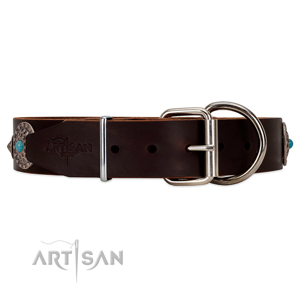 Elegant leather dog collar with chrome-plated buckle and D-ring