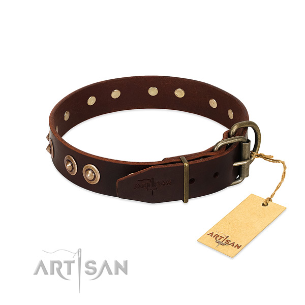 Leather dog collar with old bronze-like plated hardware