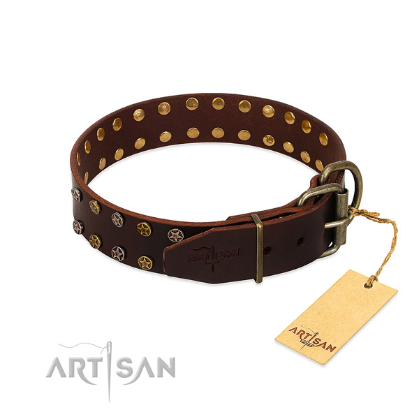 Studded leather dog collar with old bronze-like plated fittings