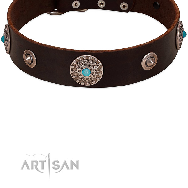 Dog collar with studs and conchos for stylish canine