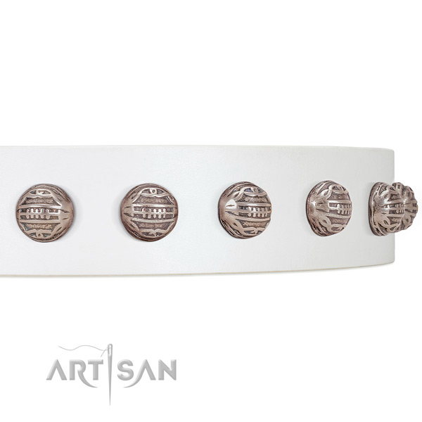 FDT Artisan white leather dog collar with fancy decorations