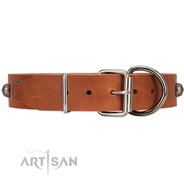 Tan Leather Dog Collar with