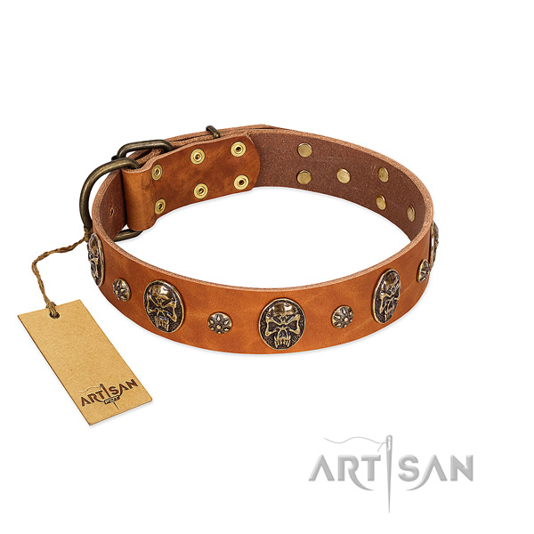 Tan comfortable Artisan leather dog collar