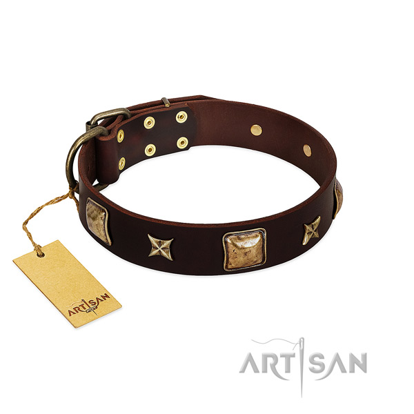 Easy adjustable brown Artisan leather dog collar for