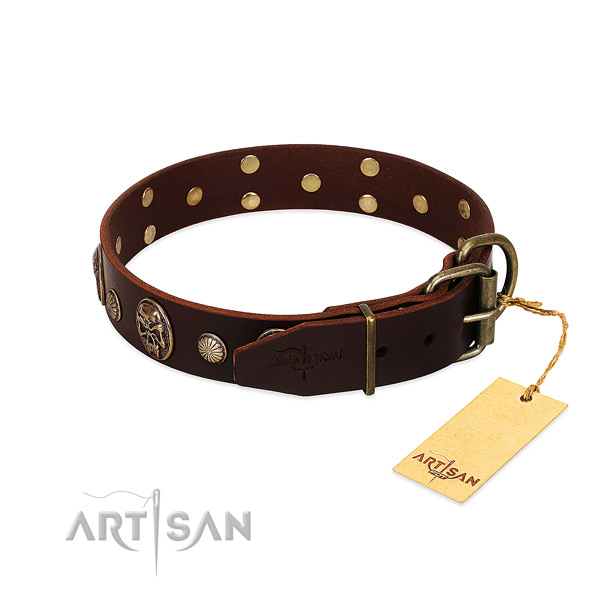 Stylish leather dog collar with old bronze-like plated
