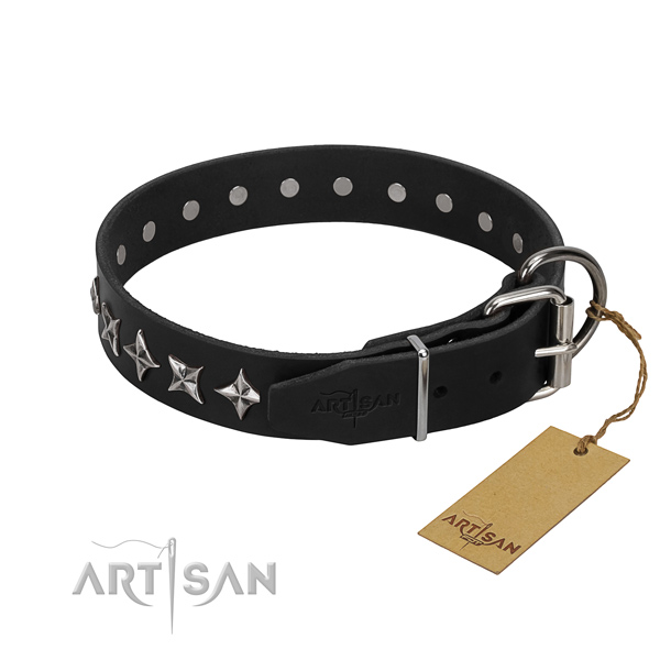 Black leather FDT Artisan dog collar with chrome-plated fittings
