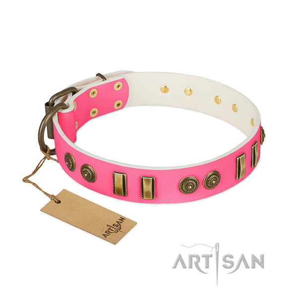 Pink leather dog collar with rust-proof adornment