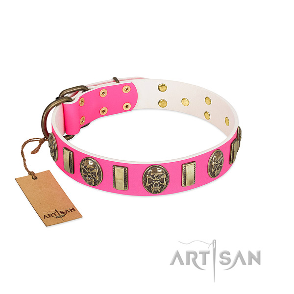 Top-notch walking pink leather dog collar