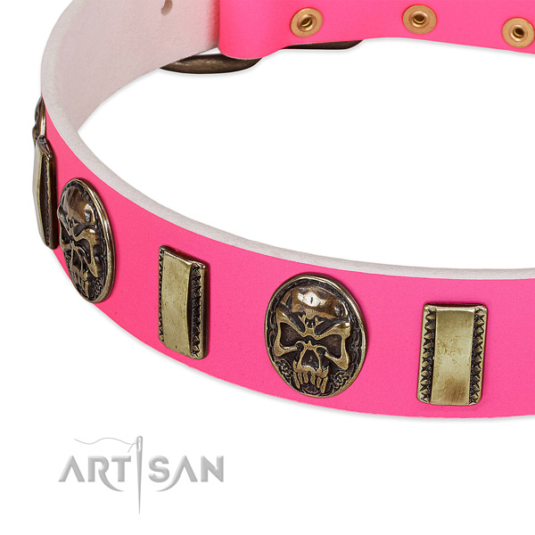 Elegant pink leather dog collar with riveted