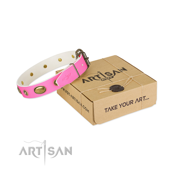 Stylish Pink Leather Dog Collar for Walking