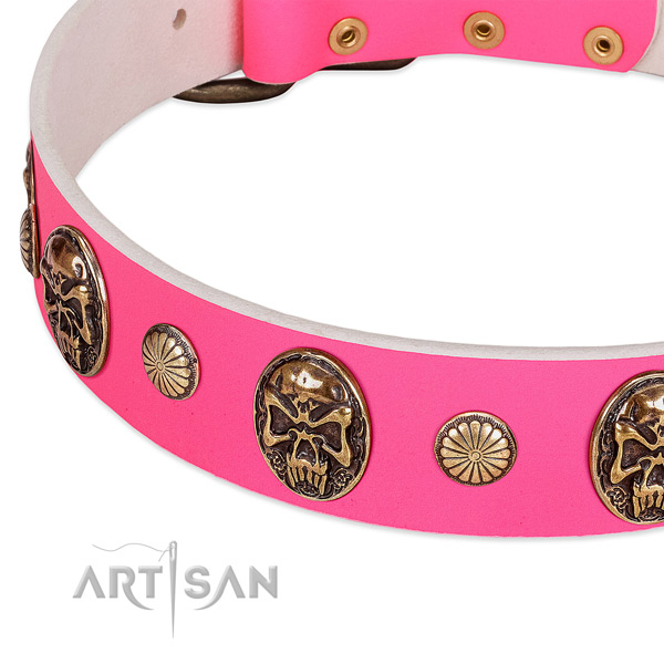 Pink dog collar with studs and medallions