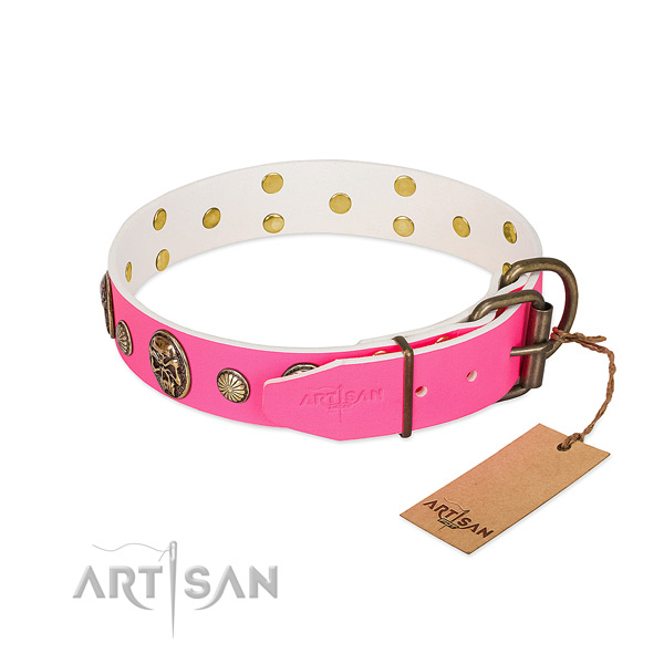 Pink dog collar with traditional buckle