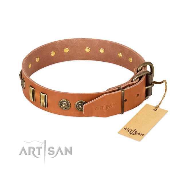 Tan leather dog collar with strong and reliable hardware