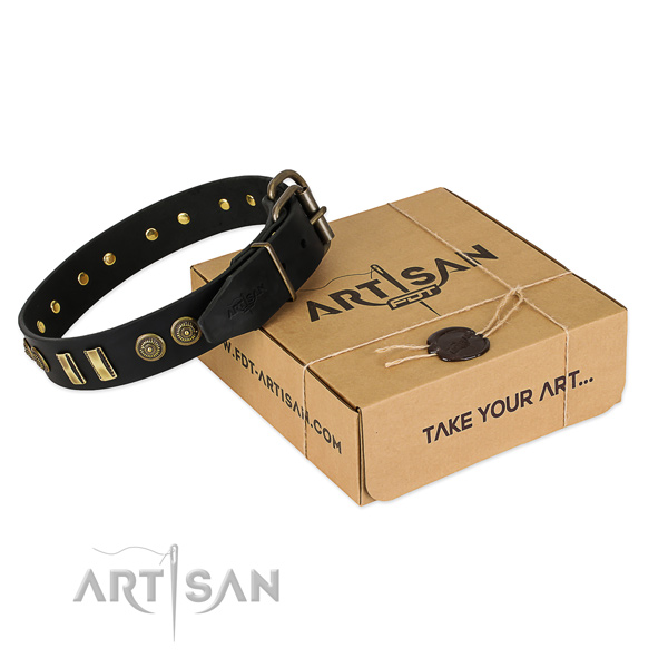Black leather dog collar with decorations