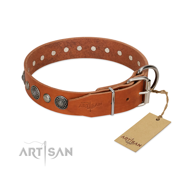 Tan leather FDT Artisan dog collar with chrome-plated buckle
