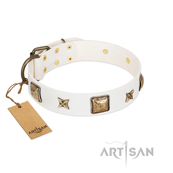 White Artisan leather dog collar with smoothed edges