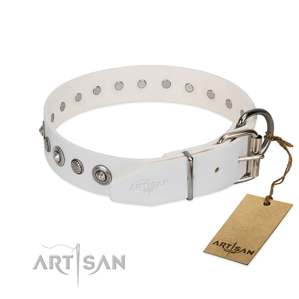 White leather FDT Artisan dog collar with chrome-plated buckle